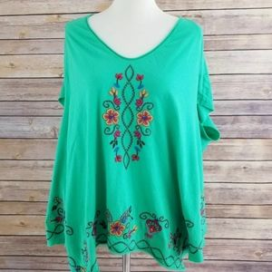 Johnny Was Embroidered Green Oversized Blouse